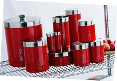Marvellous Red #Kitchen #Canisters With Stainless Steel Top Fascinating Red Kitchen Canisters With Stainless Steel Top
