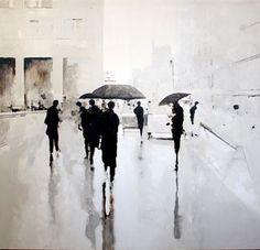 love the painting by geoffrey johnson. Figure Painting, Painting & Drawing, Landscape Art, Landscape Paintings, Modern Art, Contemporary Art, Umbrella Art, Figurative Art, Art Pictures