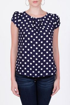 I love polka dots, so vibrant and cheeky. White Ruffle Blouse, Black Blouse, Red Blouses, Blouses For Women, Chiffon Blouses, Casual Outfits, Cute Outfits, Blouse Online, Blouse Dress
