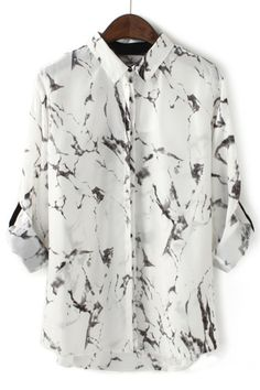 The chiffon shirt featuring splashed ink print. Butch Fashion, Shirt Blouses, Shirts, Chiffon Shirt, Mode Style, Dress Codes, Fashion Prints, My Wardrobe, Work Wear