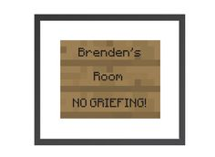 Personalized minecraft inspired name sign print for boys room decor. Customize with your own message!
