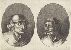Anonymous   Rijckje Schimmel-penninghs en Lubbert Leever-worst, Anonymous, Pieter Brueghel (I), 1612 - 1702   Prent uit een serie van 12 prenten met koppen van boeren en boerinnen.