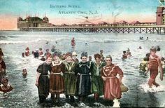 Postcard ATLANTIC CITY NJ Bathing Scene WOMEN IN OLD FASHIONED SWIMSUITS 1911