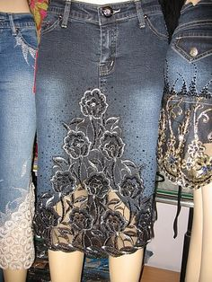 Enlarge picture: Jeans skirts, floral patterns - lace!