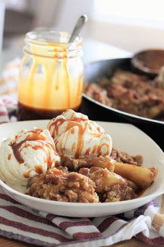 Skillet Bacon Apple Crisp. Apples, cinnamon, and nutmeg bubble away under a…