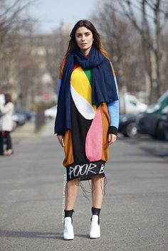 Lise Grendene in Multicolored Dress | Street Style
