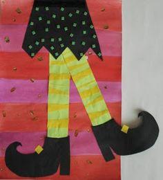 a faithful attempt: Wacky Witches Legs Halloween Art Projects, Halloween Arts And Crafts, Arts And Crafts For Adults, Halloween Doodle, Halloween Activities, Kid Crafts, Classroom Halloween Party, Theme Halloween, Holidays Halloween