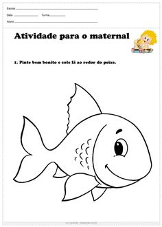 Atividade para o maternal pinte e cole lã Free Preschool, Preschool Worksheets, Cat Coloring Page, Coloring Pages, Printable Alphabet Letters, Summer Crafts For Kids, Home Learning, Pre School, Fine Motor