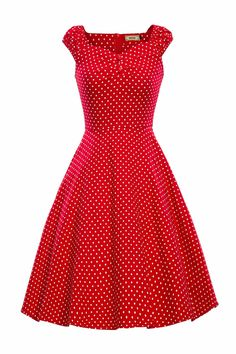 Luouse Women 1950s Vintage Retro Capshoulder Party Swing Dress at Amazon Women's Clothing store: