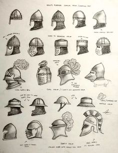 Various design and types of helmet for the Historically Wrong Sketch Series - Project WAARGH, a spin of Medieval Revisited series where instead of Women. Project WARRGH - Medieval European Helmet part 1 Fantasy Armor, Fantasy Weapons, Medieval Fantasy, Medieval Helmets, Medieval Weapons, Medieval Warhammer, Armadura Medieval, Escudo Viking, Templer