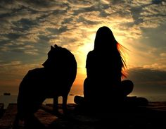 This is so amazing <3  'Wolf And Girl Lookin' At Sunset by JulianaWolfe'