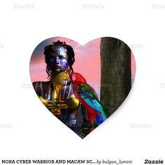 NORA CYBER WARRIOR AND MACAW SCIENCE FICTION HEART STICKER  #scifi #beauty #woman #bird #macaw #parrots #tattoo #geek #tattoed #3d