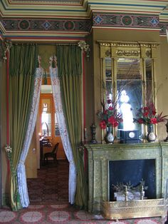 Base moldings throughout the home reflect wood or marble found in each room. This is the men's parlor. It has a hunting theme. Each wall represents a different season. This theme also carries through to the mural on the ceiling. ~San Francisco Plantation
