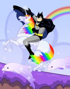 Batman on a Unicorn with Dolphin friends ;)