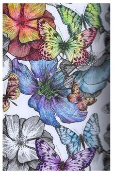 This is my new favorite inspiration for grownup coloring ideas!  Soft butterflies and flowers... palette color ideas... and gradient hues.