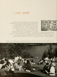 Athena Yearbook, 1956. Students take an afternoon to go to Lake Hope in the sunny weather and relax on the grass with some blankets. :: Ohio University Archives