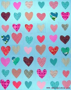 365 days of design - day 69 - mixed media hearts on blue