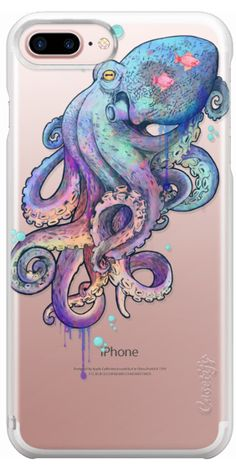 Casetify Protective iPhone 7 Plus Case and iPhone 7 Cases. Other Sea iPhone Covers - Nautical Rainbow Coloured Octopus by Laura Graves | Casetify