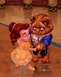 Beauty and the beast! Best of Disney Art by Eleazar_art Disney Magic, Disney Amor, Disney Babys, Cute Disney, Disney Girls, Disney Princess Babies, Disney E Dreamworks, Disney Movies, Disney Pixar