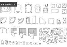 Bathroom fittings - free AutoCAD Blocks