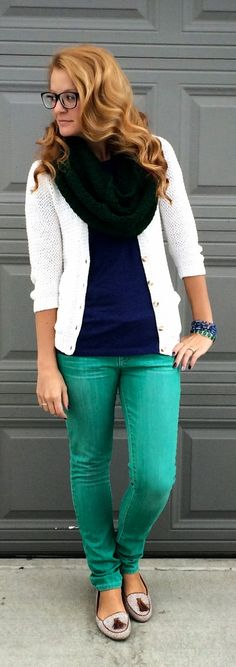Sweet Bananie - navy blue tee, green skinnies, emerald green scarf, white cardigan, dotted & tassled flats and new-ish glasses