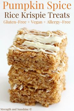 Gluten-Free Pumpkin Spice Rice Krispie Treats (Vegan, Allergy-Free) | Strength and Sunshine | Pumpkin Spice Rice Krispie Treats! Crisp, soft, and chewy, these easy gluten-free, vegan, and allergy-free Rice Krispie treats are perfect for fall or Halloween! No marshmallows needed, nut-free, loaded with real pumpkin, and topped with a dairy-free white chocolate drizzle! A lower-sugar recipe that's an ideal kid-friendly dessert or sweet snack! #pumpkin #nobake #ricekrispietreats #vegandessert Gluten Free Pumpkin, Gluten Free Baking, Pumpkin Recipes, Healthy Pumpkin, Fall Recipes, Vegan Recipes, Dairy Free White Chocolate, Homemade Rice Krispies Treats, Spiced Rice