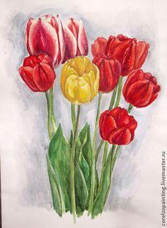 "Цветы ""Тюльпаны"" - цветы,цветы акварелью,цветы в подарок,тюльпаны,подарок"