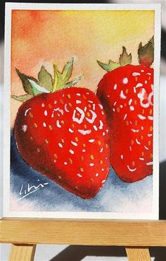"Daily Paintworks - ""ACEO original watercolor painting of fresh red strawberries  2.5x3.5 inch collectible miniature "" - Original Fine Art for Sale - © Hui (Hue) A. Li"