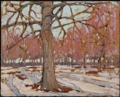 """First Snow,"" Thomas John Thomson, oil on cardboard, Agnes Etherington Art Centre. Group Of Seven Paintings, Great Paintings, Nature Paintings, Winter Landscape, Landscape Art, Landscape Paintings, Impressionist Paintings, Abstract Paintings, Emily Carr"