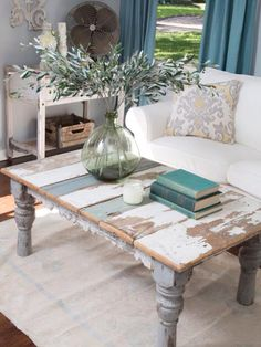 Rustic Reclaimed wood Coffee Table- LOVE the whole living room set here! & Distressed Painted Coffee Table \u2026 | A Florida Home | Pinterest ...