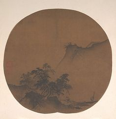 Xia Gui (1195-1230, Southern Song), Windswept Lakeshore, ink on silk, 10 1/4 x 10 5/8 in.