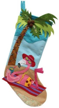 Pink FLAMINGO Xmas Holiday Stocking NWT Bikini Palm Tree Beach Lights Cocoanut