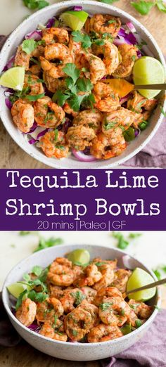 Tequila Lime Shrimp Bowls are deliciously fresh and simple to make any day of the week! You'll love the bold tangy flavor and spices of the. Tequila Shrimp Recipe, Tequila Lime Shrimp, Lime Shrimp Recipes, Bright Line Eating Recipes, Paleo Meal Plan, Paleo Diet, Sugar Free Bacon, Cilantro Lime Shrimp, Sprouts With Bacon