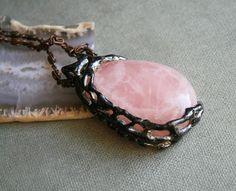 huge, pink, rose quartz, crystal gemstone, vintage jewelry, tiffany method, pendant, necklace, OOAK, valentine, Blacksmithworkshop, retro