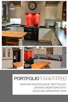 Marlow painted door, matt black granite worktops with solid oak breakfast bar…
