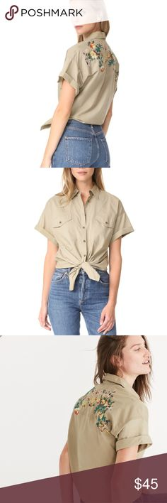 Madewell Tie-Front Safari Shirt Excellent pre-owned shirt, only worn once! No flaws, perfect condition Madewell Tops Button Down Shirts