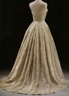"Hubert de Givenchy - ""Les Muguets"" (Lily of the Valley) Evening Dress (1955 - Paris)  Silk organdie embroidered with sequins."
