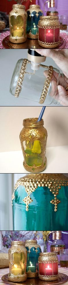 DIY IYD IDY DYI YDI: DIY PROJECT:GLASS-JAR MOROCCAN LANTERNS
