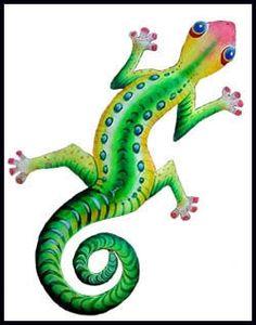 Metal \'Painted Jungle Design Gecko\' Wall Art (Haiti) | Overstock ...