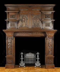 Antique Carved Oak Jacobean Fireplace Mantel, A small oval brass plate attached at the back with the details Hewetson, Milner & Thexton Ltd, House Furnishers, Tottenham Court Road, London. English, late 19th century.