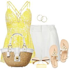 Yellow Top and Sandals by daiscat on Polyvore featuring ファッション, sass & bide, Coach, 2b bebe, Tory Burch, Melissa Odabash and Miu Miu
