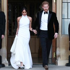 @stellamccartney Congratulations to the new Duke and Duchess of Sussex! Ms. Meghan Markle wears a bespoke Stella McCartney high neck lily white gown in silk crepe to their Wedding evening Reception in Windsor. . #StellaMcCartney #RoyalWedding