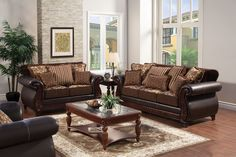 A.M.B. Furniture & Design :: Living room furniture :: Sofas and Sets :: Sofa Sets Made in USA :: 2 pc Franklin classic style 2 tone dark brown Sofa and Love seat set with fabric cushions and leather like vinyl arms and back