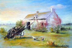 Oeuvre >> Breton Michel >> la cour de ferme Landscape Paintings, Landscapes, Pastel Paintings, Beach Art, Michel, Crayons, Acrylics, Les Oeuvres, Insects