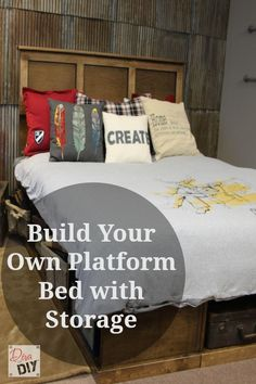 This platform bed with storage is built from a series of boxes. Learn to build a box and you can build this bed. Sketches, plans and cut list included.