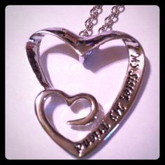 My Sister My Friend Necklace Double heart necklace says my sister my friend. Silver plated. New! Jewelry Necklaces