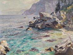 Perindani Carlo (Milano 1899 - Capri 1986) Scogliera a Capri olio su tela, cm 30x40