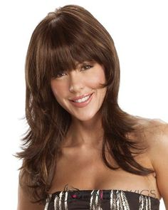 The Britt wig by Tony of Beverly is a new mono-top with a bang! Britt is a extra-long shag with razor cut layers that start with a full bang. Made of Naturlite - Tony of Beverly's exclusive blend of certified synthetic fibers. 100 Human Hair, Human Hair Wigs, Black Hair With Lowlights, Wilshire Wigs, Monofilament Wigs, Affordable Wigs, Low Lights Hair, Jon Renau, Best Wedding Hairstyles