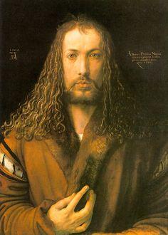 """Albrecht Durer - """"Self Portrait in a Fur Coat"""" à la Jesus, 1500, master of light on hair"""