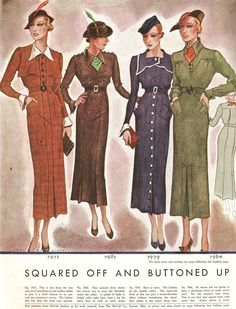 "Keeping us warm and fashionable in 1934, McCall Magazine says we should be 'Squared Off and Buttoned Up"" with ""Masses of Fur or None at All""."